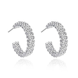Chinese  Vintage 925 Silver Plated Mesh Chains Circles Earrings Ladies Eardrop jewelry Hoop Women's Party Earrings Top Sale manufacturers