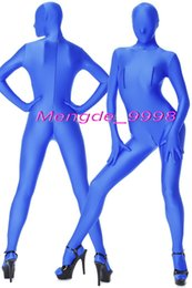 Sexy Blue Lycra Spandex Tuta Catsuit Costumi Completo Body Suit Outfit Unisex Costumi Cosplay Con 3 Way Zip Halloween Cosplay Suit M054