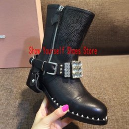 $enCountryForm.capitalKeyWord Canada - Black Leathe Studded Gem Buckle Boots for women Flats Mid calf Zip Rivets Women Winter Spring 2017 Ladies Casual Ridding Booties
