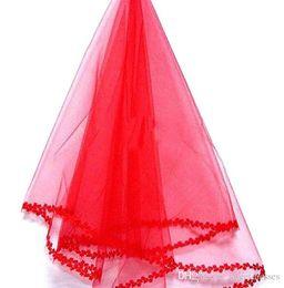 Потрясающие Красный Один Слой Короткие Свадебные Вуали С Кружевом Цвет Края Дешевые Свадебные Вуаль Свадебные Аксессуары Бесплатная Доставка В Наличии