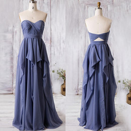 Long Cœur Long Pas Cher-2017 Real Photos Robes de demoiselle d'honneur en mousseline de soie bleu marine longue SweatHeart Criss Cross Tiers Party Wedding Maid of Honor Gowns Image réelle