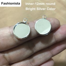 12mm pendant tray Canada - 50 Pieces 12mm Round Pendant Trays, 12mm Circle Cabochon Setting Tray Great to Make Small Pendants or Earrings