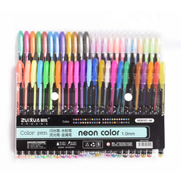 stationery Canada - New Design 48Colors Gel Pens Set Refills Pastel Neon Metallic Glitter 1.0Mm For Copic Sketch Manga Coloring Book Drawing School Stationery