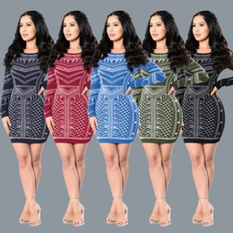 Barato Vestido De Curativo Com Pescoço-Moda Evening Party Cocktail Prom Tight curto vestido Bodycon Bandage Imprimir Mini Vestidos Scoop Neck Manga longa Skinny Clubwear