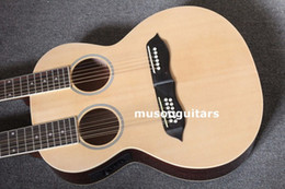 double guitars Australia - 6 12 String Acoustic Electric Double Neck Guitar, Two Hole,with EQ and Black Bag