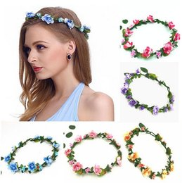 Fleurs De Couronne De Mariée Pour Mariage Pas Cher-Coiffe des cheveux Coiffe des fleurs Bohemian Terylene Flower Headband Garland Crown Festival Wedding Bride Costume floral de demoiselle d'honneur