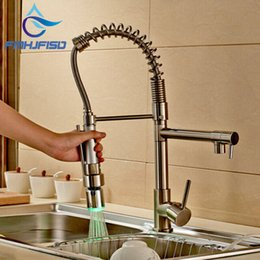 Discount Led Brushed Nickel Kitchen Faucets Wholesale  NEW Luxury LED  Colors Brushed Nickel Kitchen Sink
