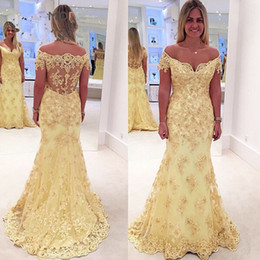 Online Shopping Off The Shoulder Yellow Lace Mermaid Evening Dresses Short Sleeves Vestido De Fiesta