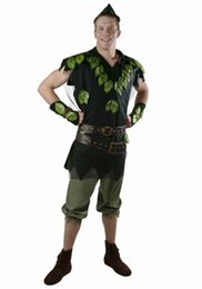 Barato Peter Cosplay-New Bayi New Cosplay Party traje de criança adulto Traje de Halloween Stage Peter Pan Foliage Traje de alta qualidade