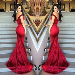 Robe Longue Robe Pas Cher-Livraison gratuite Robes de soirée Red Mermaid Off Shoulder Satin Backless Stunning 2017 Long Proml Gowns Vestido De Novia