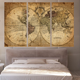 Vintage world map poster canada best selling vintage world map 3 panels vintage world map canvas painting home decor wall art painting canvas prints pictures for living room poster xa1158c gumiabroncs Images