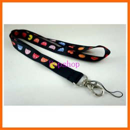 cell mobile phone strap key chain 2019 - Hot Sale!50pcs NEW Game Pacman Fruity Game Neck Lanyard Strap Cell Mobile Phone ID Card Key chain