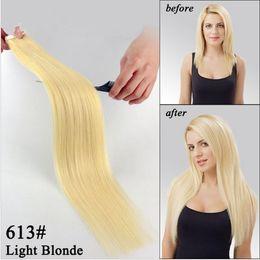 6a Straight Hair NZ - Top quality 6A malaysian brazilian remy human hair straight hair PU tape hair Extensions 14''-26'' 613# light blonde 100 pack 40pcs dhl free