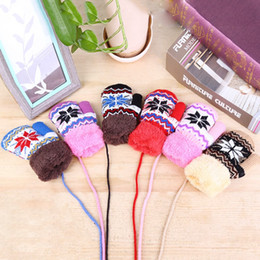 $enCountryForm.capitalKeyWord NZ - Kids Winter Snowflake Gloves For Girl And Boy 6 Colors With Hanging Rope Baby Mittens Christmas Velvet Knitted Gloves