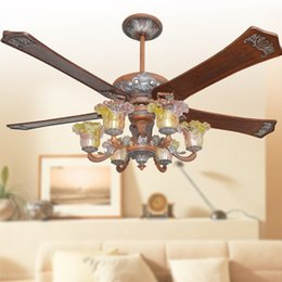 classic led ceiling fans lights 62inch 5blade vintage wooden fans remote control indoor ceiling fan with 6 lights vintage ceiling fans promotion - Vintage Ceiling Fans
