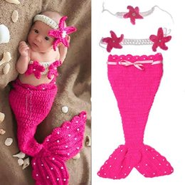 Tenue De Sirène Tricotée Bébé Pas Cher-Beautiful Mermaid Newborn Baby Girl Photo Photographie Props Infantile Ensembles faits à la main Crochet Knit Cocoon Set Costume bébé en tricot