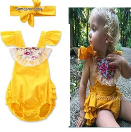 Discount fashioned baby clothes - INS Baby Clothing Sets Bowknot Lace Jumpsuit Rompers Girsl Floral Summer Romper Toddlers Bow Headband Lace Onesies Fashi