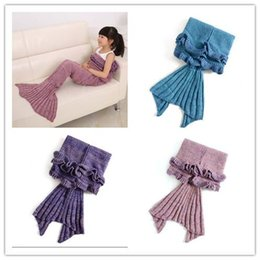 mermaid towel tails wholesale 2019 - 50pcs NEW Super Soft Hand Crocheted Mermaid Tail Blanket Beding Sofa Blanket with Lotus Leaf for Children 140*70 cm MRA0