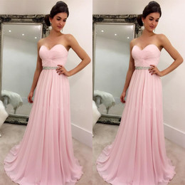 Barato Sweetheart Light Blue Chiffon Vestidos-2017 Blush Pink Prom Dressess Simples Elegante Barato Vestido Prom Vestido com Chiffon Sweetheart sem mangas Colorido cristais Light Pink Evening Gown