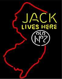 China Fashion Handcraft Jacks Live Here New Jersey Real Glass Beer Bar Display neon sign 19x15!!!Best Offer! suppliers