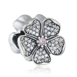 Summer Flower Bracelet Canada - Apple Blossom Charms Beads Authentic 925 Sterling-Silver-Jewelry AAA CZ Flower Bead DIY Brand Summer Charm Bracelets Accessories HB631