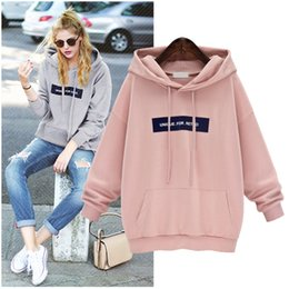 Barato Ternos Bonitos Do Suor-Pink Loose Tuits For Women Hoodies Mulher Tracksuit Grande tamanho Jogging Femme Kawaii Hoodie Camisola de Sweat Mulher bonito Plus Size Hoodie de moda