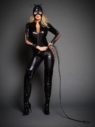 Wholesale 2017 New Sexy PVC Latex Catwoman Catsuit Halloween Costume Women Black Faux Leather Zipper Jumpsuit With Mask Plus Size S XXL