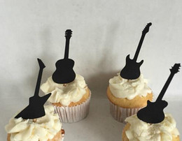 $enCountryForm.capitalKeyWord Australia - Custom 30pcs black Guitar Silhouette cupcake toppers Bachelorette Hem night Party Supplies wedding birthday baby shower party Decoration
