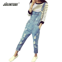 Cravate En Jean Jumpsuit Été Pas Cher-Vente en gros-style coréen d'été Denim Jumpsuits 2017 Mode Femme Salopette Femmes Hole Denim Strap Pantalon Preppy Style Loose Slim S-ML