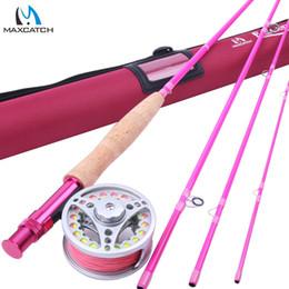 Vente en gros- Maximumcatch 5WT Pêche à la mouche combo 9FT moyenne rapide rose canne à la mouche rose avec moulinet et ligne