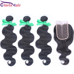 $enCountryForm.capitalKeyWord Canada - Raw Indian Hair With Closure 3pcs Wet and Wavy Hair Bundles with Lace Closures Unprocessed Human Hair Weave Indian Body Wave