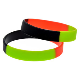 glow party decorations UK - 1PC Segmented Color Black Green and Red Plain Band Trendy Decoration Silicone Rubber Wristband Adult Size