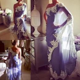 $enCountryForm.capitalKeyWord Canada - Lavender Chiffon One Shoulder Evening Gowns With White Lace Applique Saudi Arabic Simple Design Prom Dresses Women Formal Wear Cheap