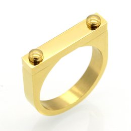 Screw Rings NZ - Solid Fashion Screw Love Ring Punk Rock Finger Ring Gold Color Lucky Rings For Women Stainless Steel Ring Jewelry Wholesale