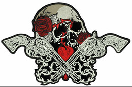 """$enCountryForm.capitalKeyWord NZ - Fashion ROSE GUN SKULL Embroidered Patch Iron ON Motorcycle Biker Large Size 8"""" Patch for Jacket Vest Free Shippping"""