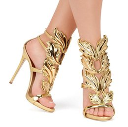 Chinese  Hot Sale Golden Metal Wings Leaf Strappy Dress Sandal Silver Gold Red Gladiator High Heels Shoes Women Metallic Winged Sandals manufacturers