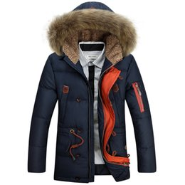 Barato Capuz Branco De Peles De Casaco De Inverno-Atacado - Big Genuine Fur Hood Men's Thick Down Casacos Long Warm White Duck Down Casacos acolchoados Pai Winter Casual Parkas JK-596