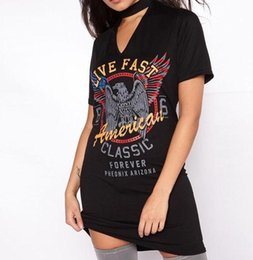 Show Hot Dresses NZ - Hot style of foreign trade in Europe and the cultivate one's morality show thin hot style The eagle printed dress sexy neck T-shirt Fashion