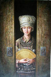 beautiful girl art paintings UK - Framed beautiful Chinese young Hmong girl,100% Handcrafts portrait Art Oil painting canvas,Multi sizes Available P007