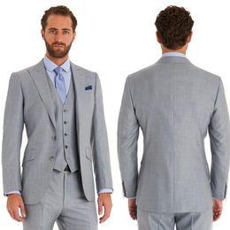 $enCountryForm.capitalKeyWord Canada - Gray Wedding Groomsmen Tuxedos for Groom Wear 2018 Peaked Lapel Custom Made Business Party Men Suits Three Piece Jacket Pants Vest