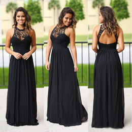 Discount line princess halter floor length Sexy Long Black Chiffon Junior Bridesmaids Dresses Halter Neck Cheap Lace Country Beach Summer Bridesmaid Dress Wedding