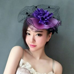 $enCountryForm.capitalKeyWord NZ - Woman headdress hair Purple feather bride small hat veil headdress dinner party hat dress accessories hairpin retro.