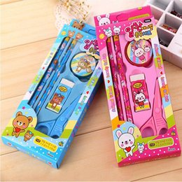 children stationery sets NZ - Cute Cartoon Stationery Set Box Kids Children Students Award Gift School Supplies Party Favors Gifts