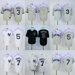 e04c27c5c84 ... Stitched MLB Jersey New York Yankees Throwback Baseball 7 Mickey Mantle  3 Babe Ruth 5 Joe DiMaggio Jerseys Navy ...