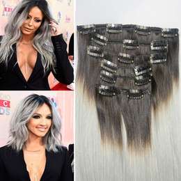 Ombre Clip In Human Hair Extensions Brazilian Straight Vrigin 7pcs Set 100g Remy Ins T1B Silver Grey Color