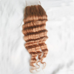 Discount inch indian deep wave hair - Honey Blonde Lace Closure Brazilian Deep Wave #27 100% Virgin Peruvian Indian Malaysian Remy Human Hair Top Closure 4*4