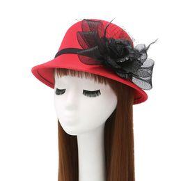 $enCountryForm.capitalKeyWord NZ - Fashion Women Vintage Wool Round Flower Cloche Cap Warm Wool Blend Felt Trilby Hat Ladies Winter Fedoras Stingy Brim Caps
