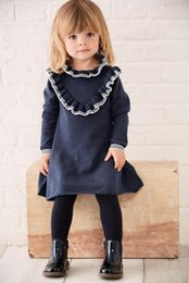Vestido De Punto De Moda Baratos-Ins Babies Sweater Dress 2017 Little Kids Girls Fashion Knitted Ruffles Dress Baby Girls Otoño ropa de invierno