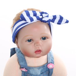 Étirement En Gros Pas Cher-Vente en gros - 1 X Baby Girl Kids Infant Toddler Soft Stretch Stripe Rabbit Bow Turban Hairband Headband Head Wrap Hair Band Accessoires