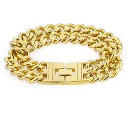 $enCountryForm.capitalKeyWord UK - Heavy Large Big Long Double Hand Chain Hiphop Bracelet Gold Color Stainless Steel Punk Bracelets Mens Jewelry 235mm